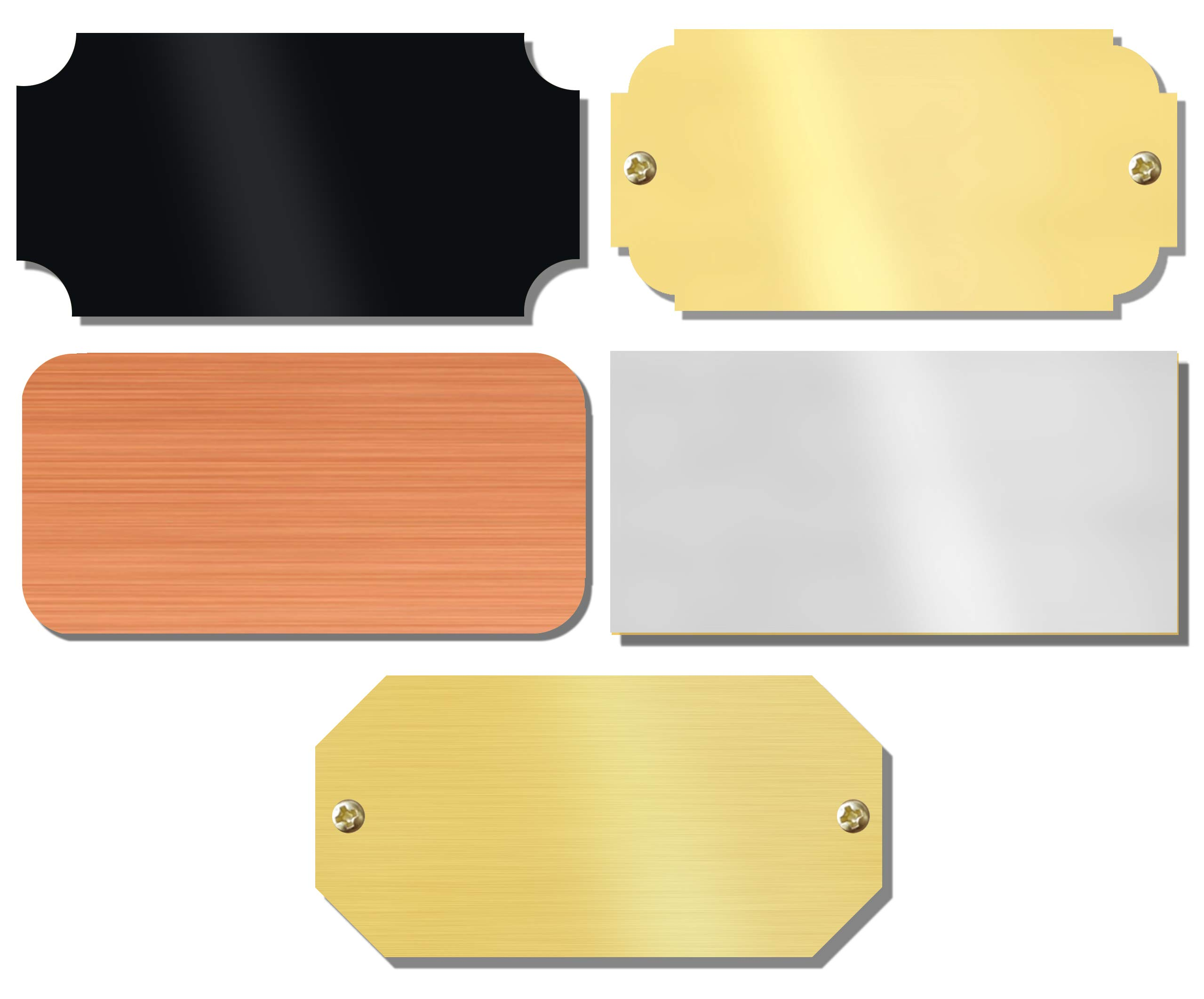 1'' H x 2'' W, Blank Perpetual Name Plates, Solid Brass Lacquered Plaque Tag, Rectangular, Notched, Rounded, Scallop or Chamfer Corners, Made in USA (Satin Silver, 100 pcs.)