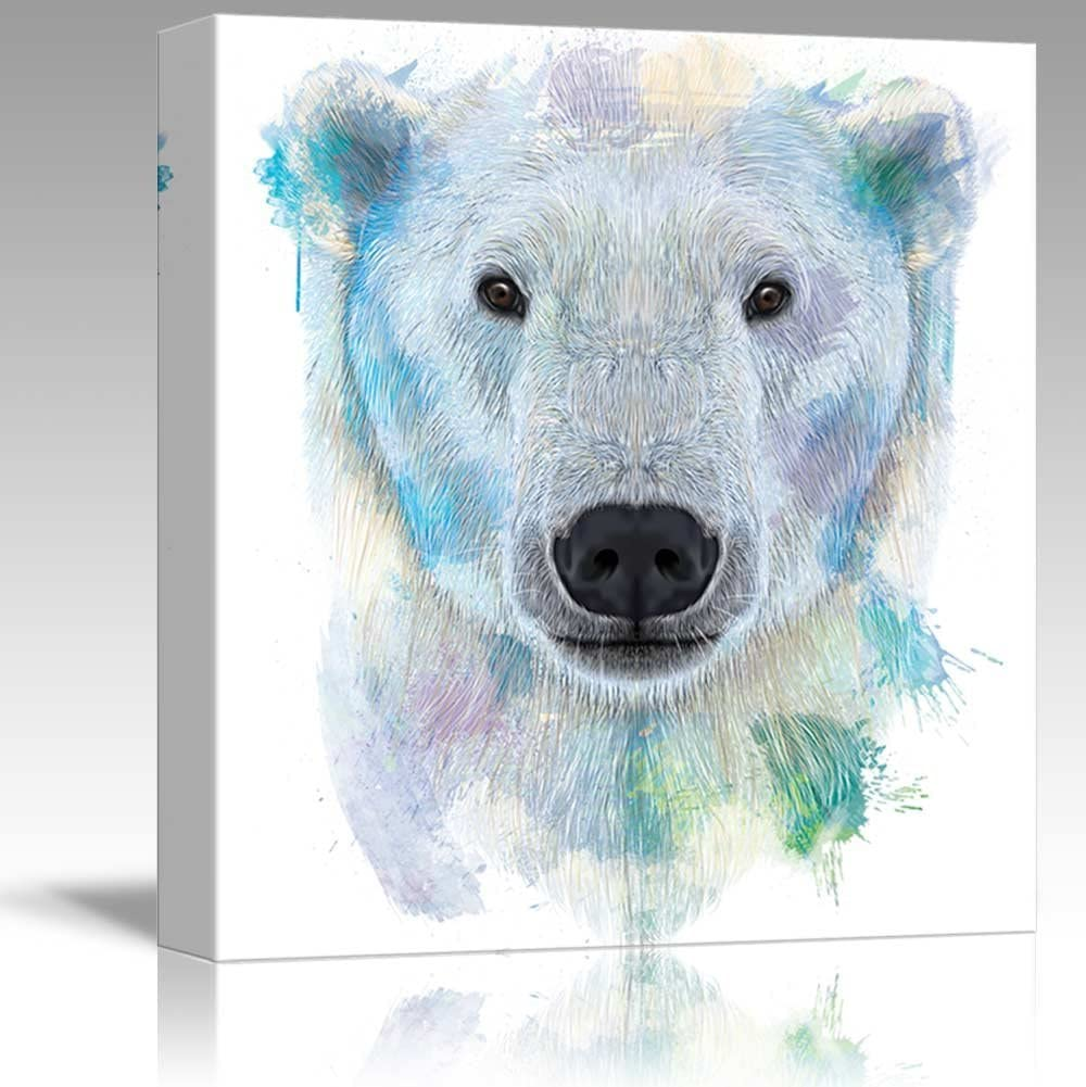 Colorful Splattered Watercolor Style Polar Bear - Canvas Art