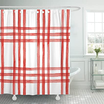 TOMPOP Shower Curtain Blue Plaid Watercolor Red Checkered Pattern Cage Colorful Abstract Waterproof Polyester Fabric 78