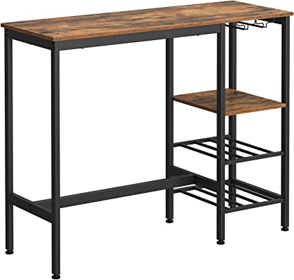 Vasagle High Table Dining Table Bar Table With Wine Glass Holder And Bottle Rack For Living Room Kitchen 110 X 40 X 90 Cm Industrial Rustic Brown And Black Lbt013b01 Amazon Co Uk Kitchen
