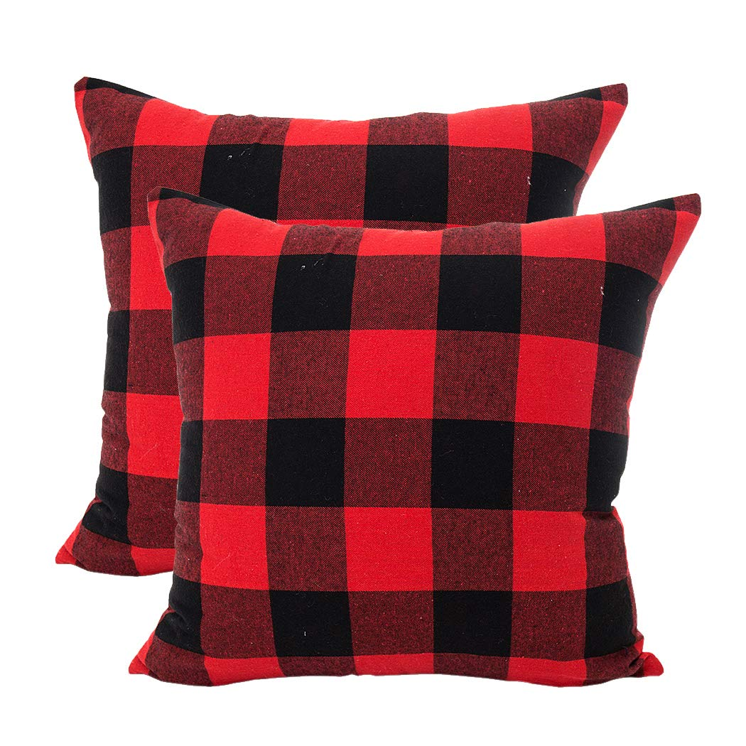 LEIOH Christmas Decorations Retro Checkers Plaids Cotton Linen Pillow Covers 16x16 Inches Farmhouse Decorative Throw Pillow Covers Cushion Case for Sofa Bed Set of 2