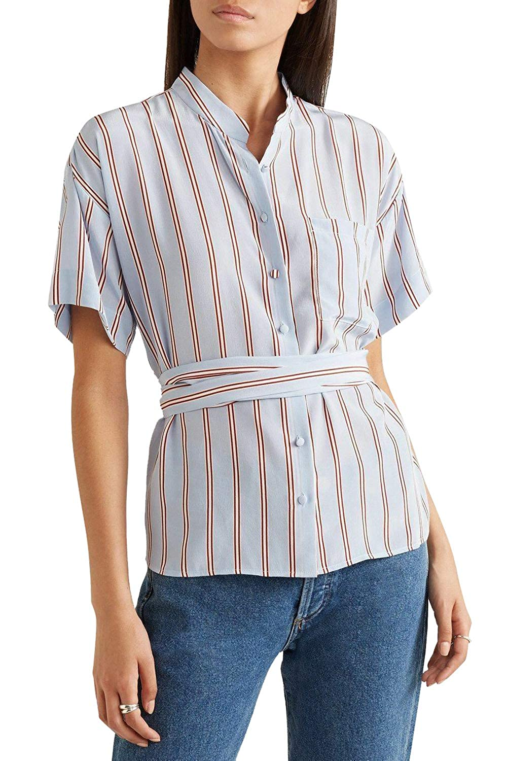 bdd246d321274 Frame Women s Short Sleeve Belted Blue Striped Silk Shirt Blouse at Amazon  Women s Clothing store