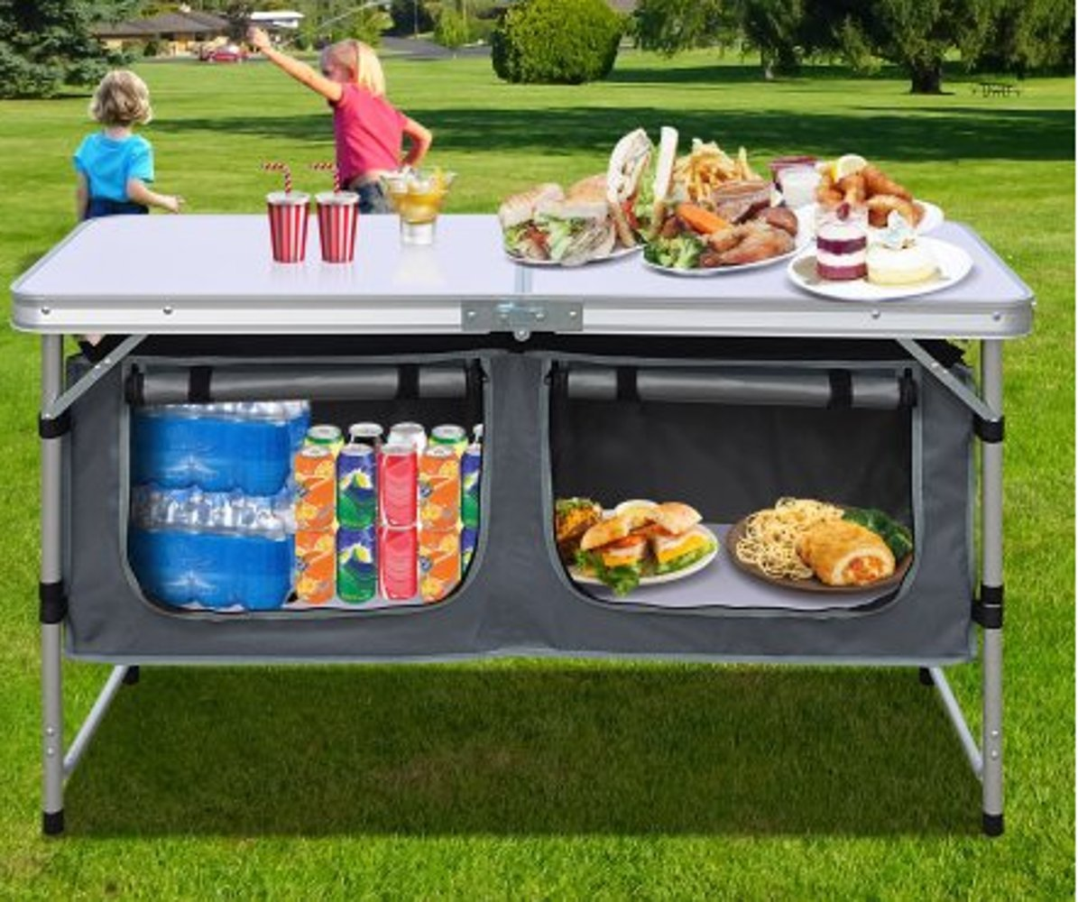Portable Prep Station, Aluminum Material, Lightweight, Easy Transportation, Stylish Design, Easy Assembly, Ideal For Outdoor Spaces, Easy Cleaning, Sturdy And Durable Construction & E-Book