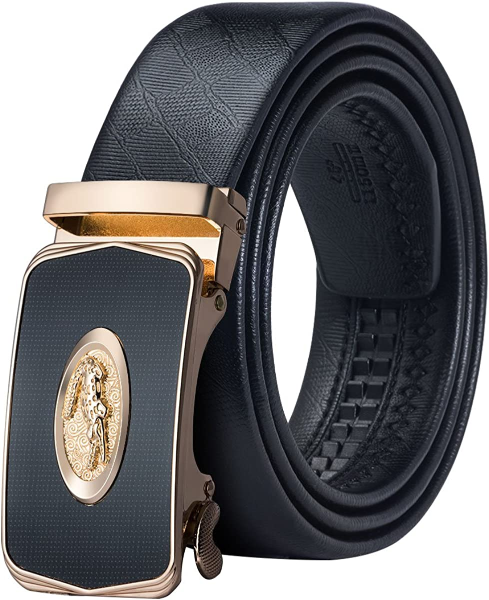 Barry.Wang Mens Designer Belt Black Ratchet Genuine Leather Belt Fashion Automatic Buckle Alloy,Gift for Men