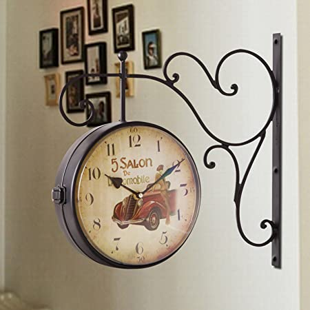 Joveco Iconic Railways Clock, Vintage Style With Scroll Wall Mount 5 Salon