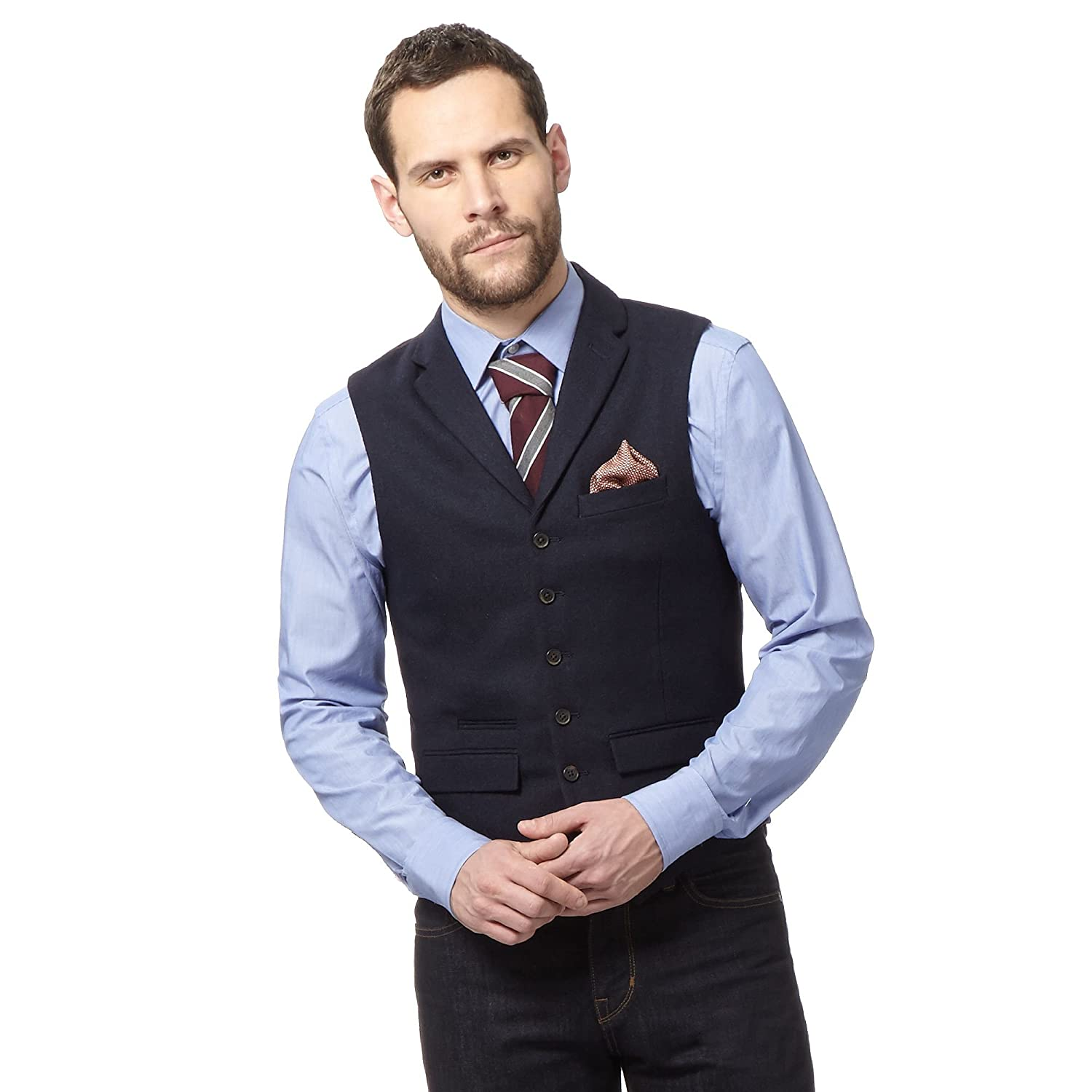 Hammond & Co. By Patrick Grant Mens Navy Basketweave Waistcoat