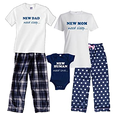 New Dad White Shirt Pant Pajamas Set - Adult Small, S/S, NVY