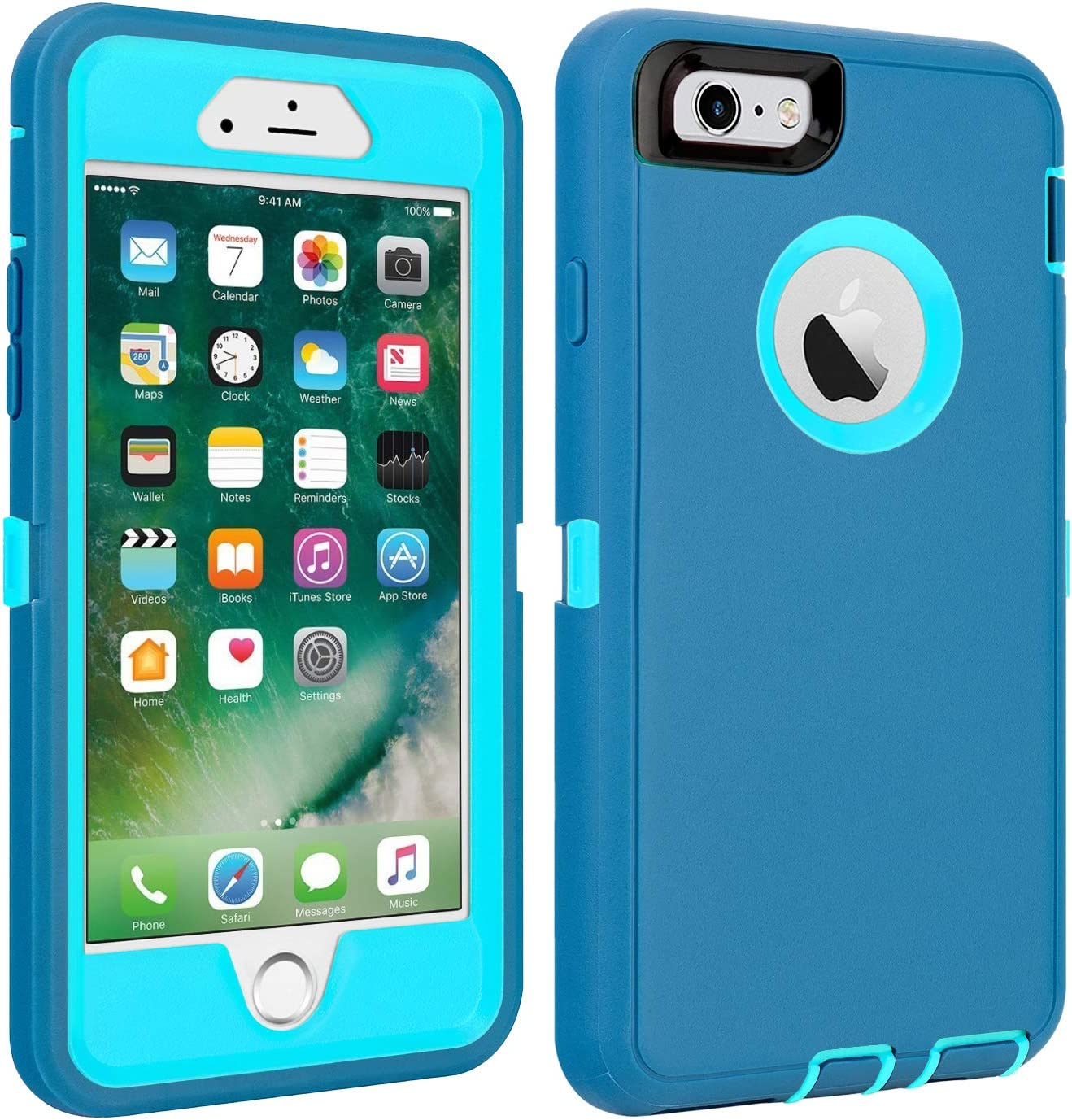 """iPhone 6/6S Case Shockproof High Impact Tough Rubber Rugged Hybrid Case Silicone Triple Protective Anti-Shock Shatter-Resistant Mobile Phone Case for iPhone 6/6S4.7"""" (LtBlue)"""