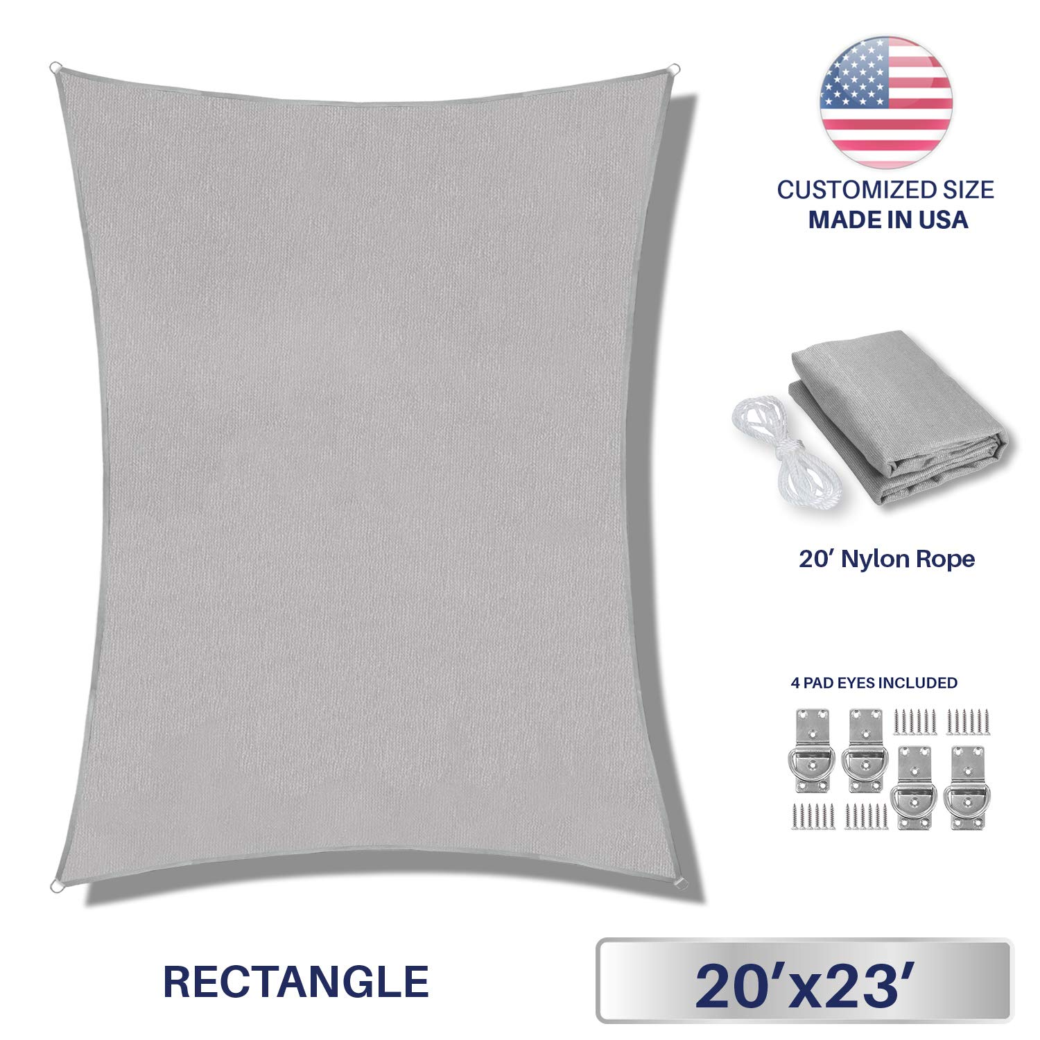 Windscreen4less Sun Shade Sail Light Grey 20' x 23' Rectangle Patio Permeable Fabric UV Block Perfect for Outdoor Patio Backyard - Customize (4 Pad Eyes Included)