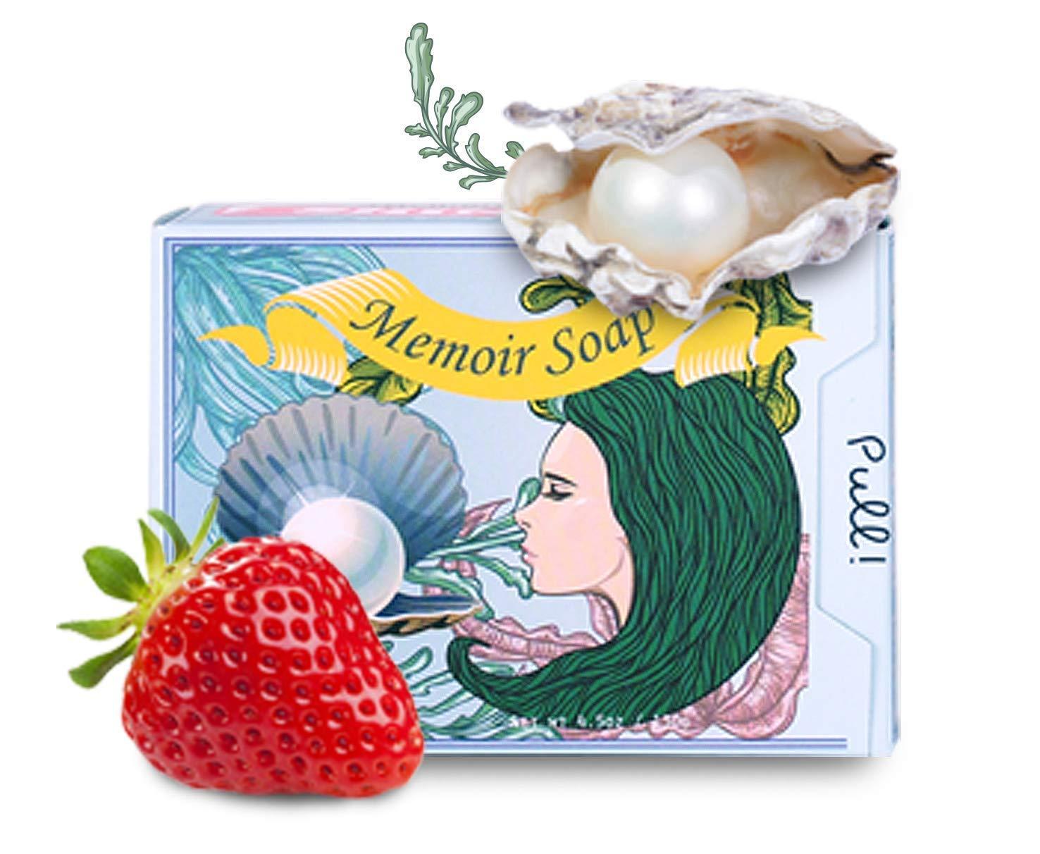 Memoir Natural Whitening Cleanser Soap - Pearl, Strawberry, Hyaluronic Acid, Tomato & Cucumber Extract, Grapefruit & Lemon Oil - Great for Sensitive Skin - Natural Skin Lightening - 4.5oz Memoir Art Studio