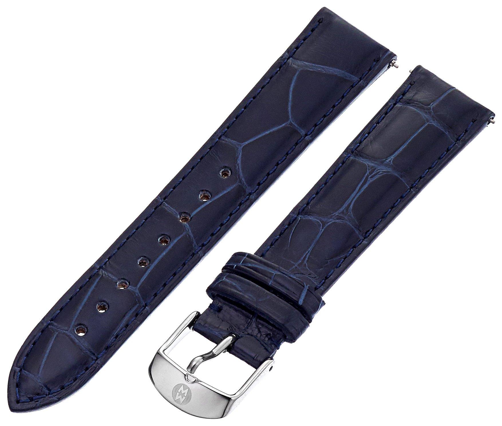 Michele Women's MS18AA010400 18 mm Leather Alligator Navy Blue Watch Strap