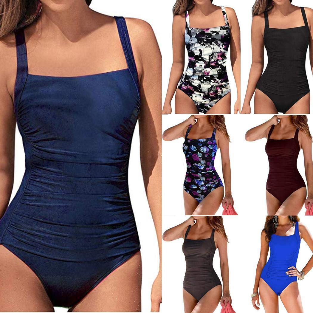 Euruse Womens Vintage Padded Push up One Piece Swimsuits Tummy Control Bathing Suits Plus Size Swimwear XS-XXL One-Pieces