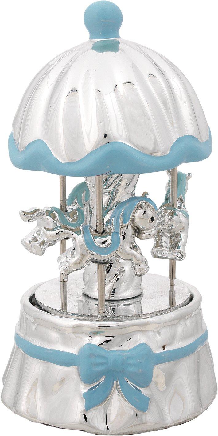 Móvil Que Gira con música – Cerámica con cúpula cortina azul con caballos plateados y placas Astral CM10 X 18 Made in Italy