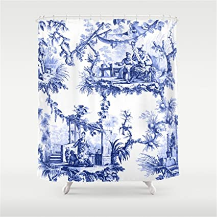 Image Unavailable Not Available For Color Weeya Blue Chinoiserie Toile Shower Curtain