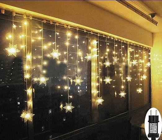 SMITHROAD LED Lichtervorhang Schneeflocke für Weihanchten Party IP44 31V Niederspannung mit 8 Modi 93er Lichterkette Weihnach