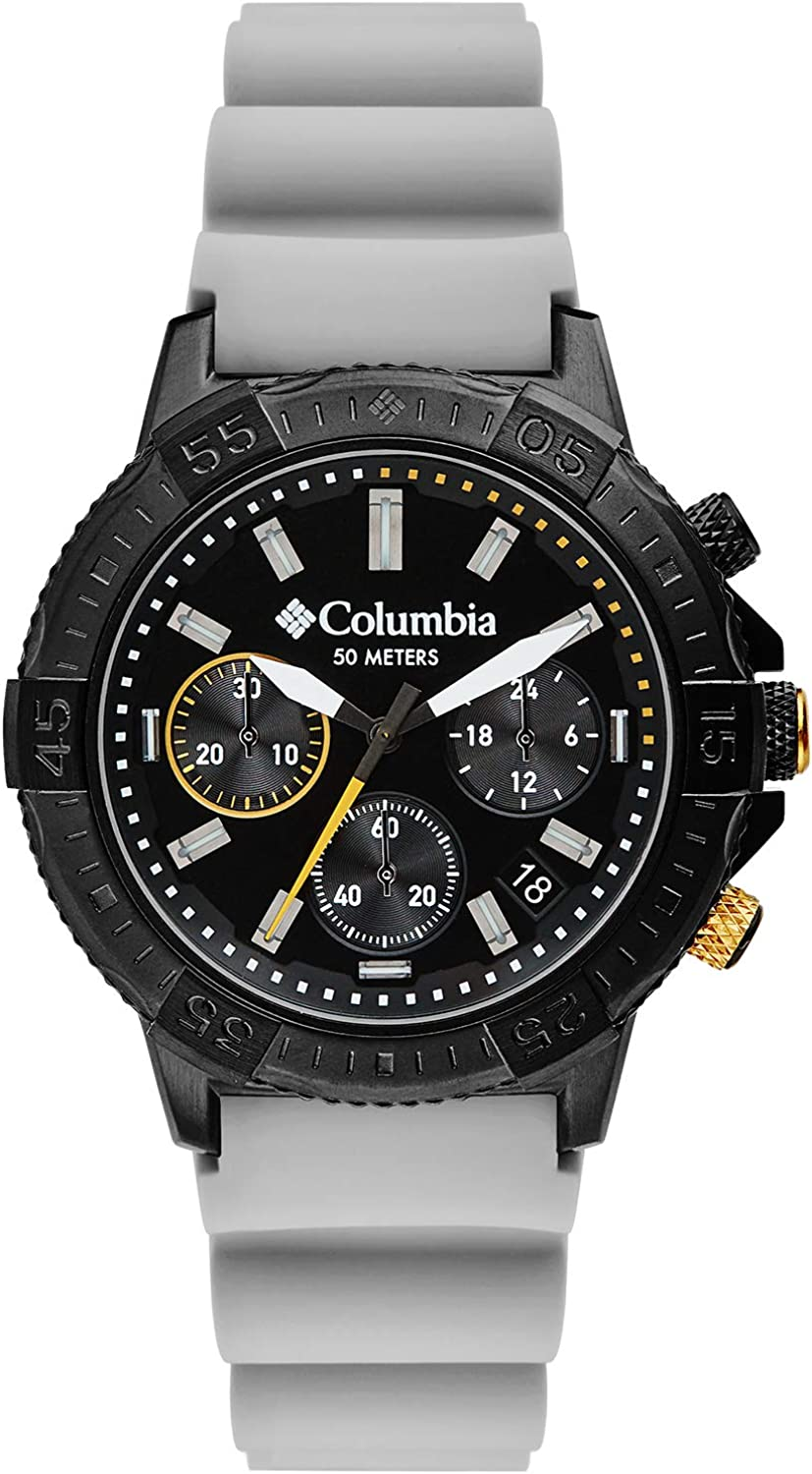 Columbia Peak Patrol Stainless Steel Quartz Sport Watch with Silicone Strap, Gray, 13 Model CSC03-005