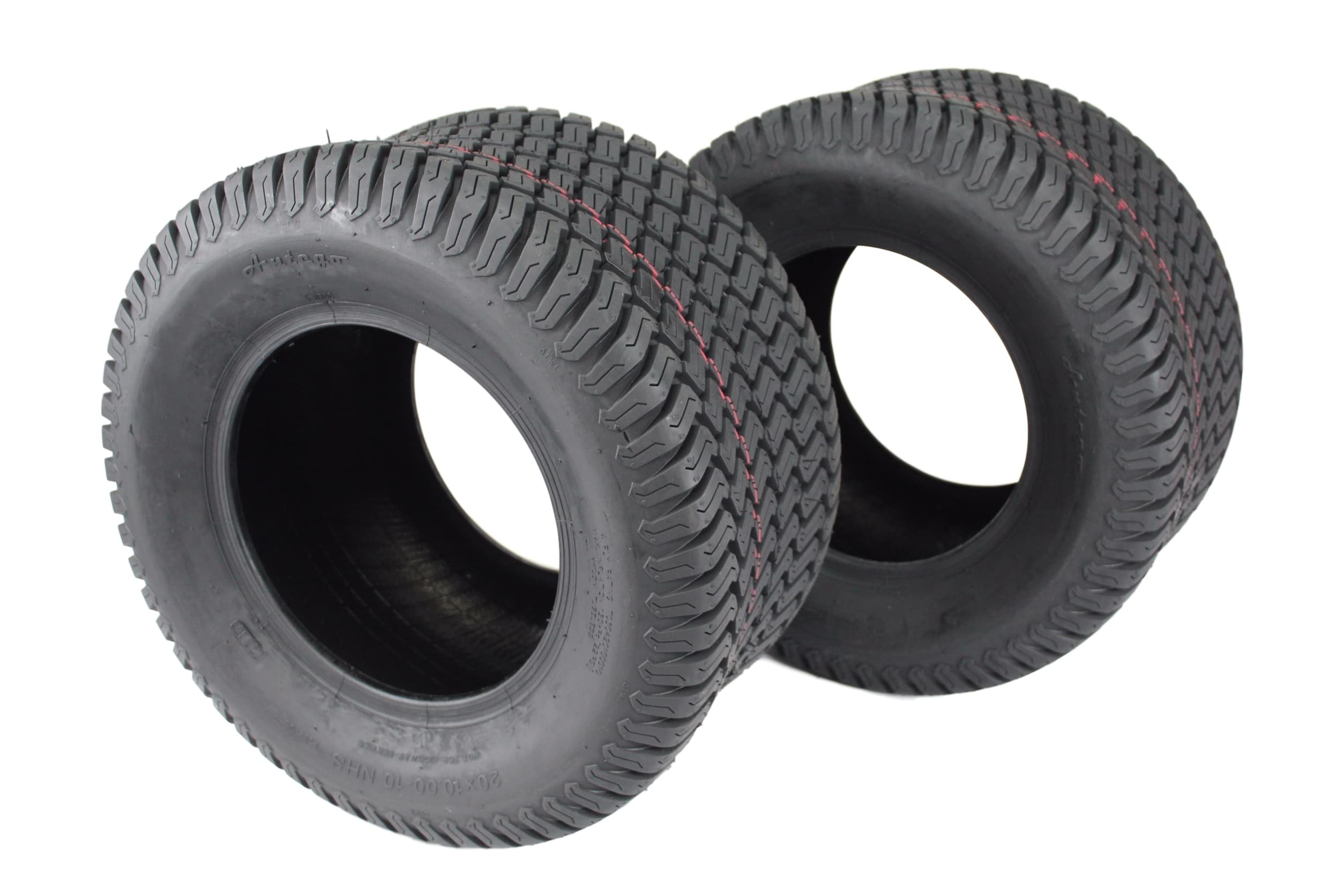 Antego Set of Two 20x10.00-10 4 Ply Turf Tires for Lawn & Garden Mower 20x10-10