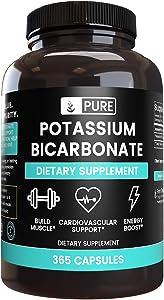 Pure Potassium Bicarbonate (365 Capsules) Potent & Gluten-Free Potassium Supplement (800 mg Serving)
