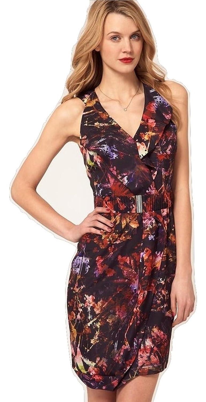 Karen Millen Paint Splash Floral Print Dress Red Multi