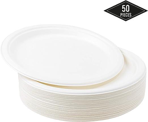 50 Platos Desechables de Papel de Caña de Azúcar, 26cm - Rigido y ...