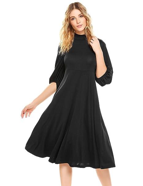 b325d4e177769 BEAUTYTALK Womens High Neck 3/4 Flare Sleeve Empire Waist Loose Casual T- Shirt