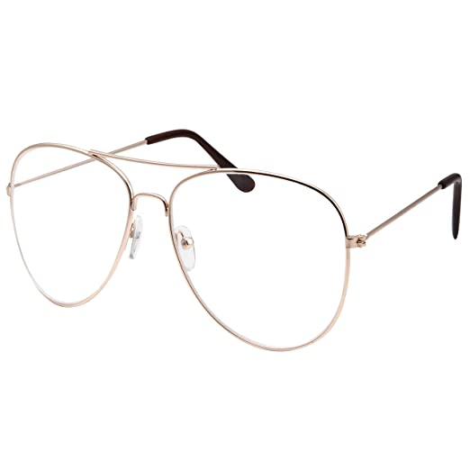93d4525758b Image Unavailable. Image not available for. Color  Womens XL Large Fashion  Gold Aviator Clear Lens Glasses ...