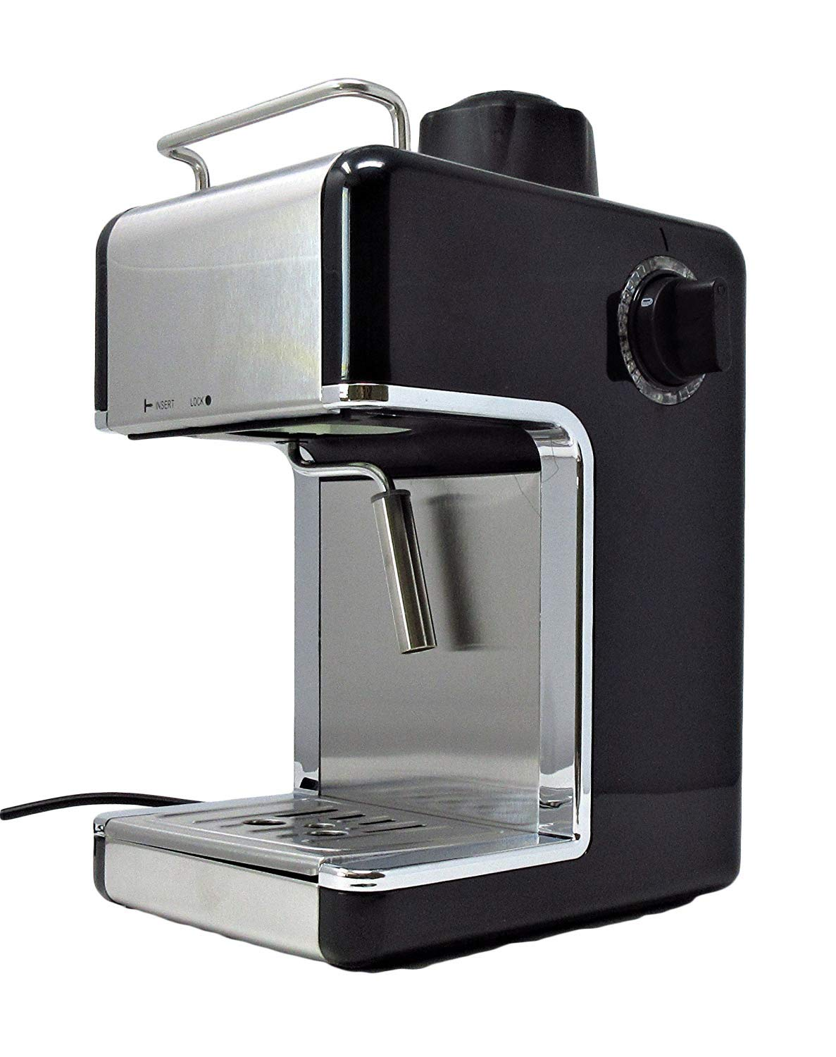 Cookspace ® 4-Cup Steam Espresso & Cappuccino, Latte Maker, Stainless Steel Coffee Maker Machine 800W 3.5bar, Black