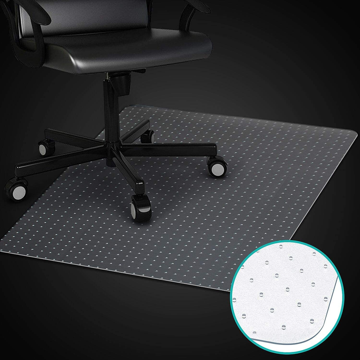 Azadx Home Office Chair Mat for Low, Standard and No Pile Carpeted Floors, Transparent Carpet Protector (36 x 48'' Rectangle)