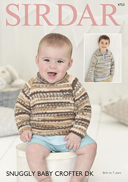 d8da37c6f Sirdar 4753 Knitting Pattern Baby   Childrens Sweaters in Sirdar Snuggly  Baby Crofter DK  Amazon.co.uk  Kitchen   Home