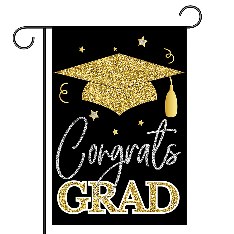2021 Congrats Grad Garden Flag, 12.5x18 Inch Double Sided Congratulations Graduation Garden Flag, School Senior College Graduations with Cap, Graduation Decorations, Celebrate Decor for Yard Outdoor