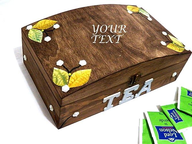 Caja de té de Navidad, Caja de té de regalo, Caja de té grabada