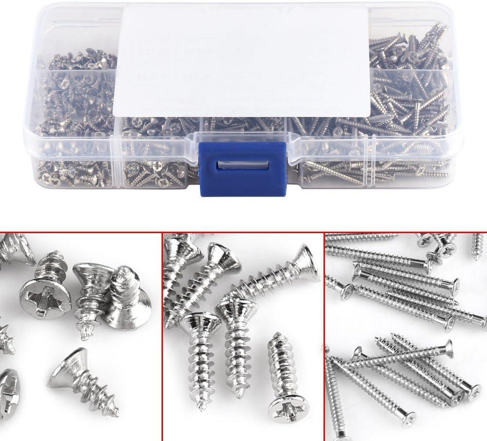 #1 800pcs//set M2 Screws Cross Drive Flat Head Self-Tapping Screws Kit Woodworking Fastener with Box