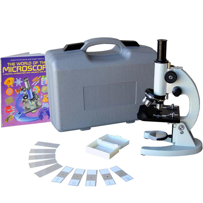 Amscope M60C-ABS-PB10-WM Kinder Schüler Anfänger Set 40x-1000x monokulares Mikroskop mit 5 Stück Dauerpräparaten & 5 Objektträger , Koffer und Buch Mikroskopie achromatische Objektive