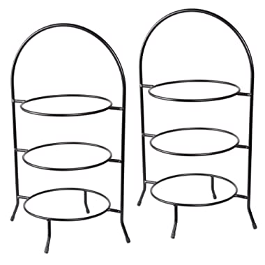 Creative Home Iron Works Set of 2 Pieces 3-Tier Dinner Plate Rack - Black