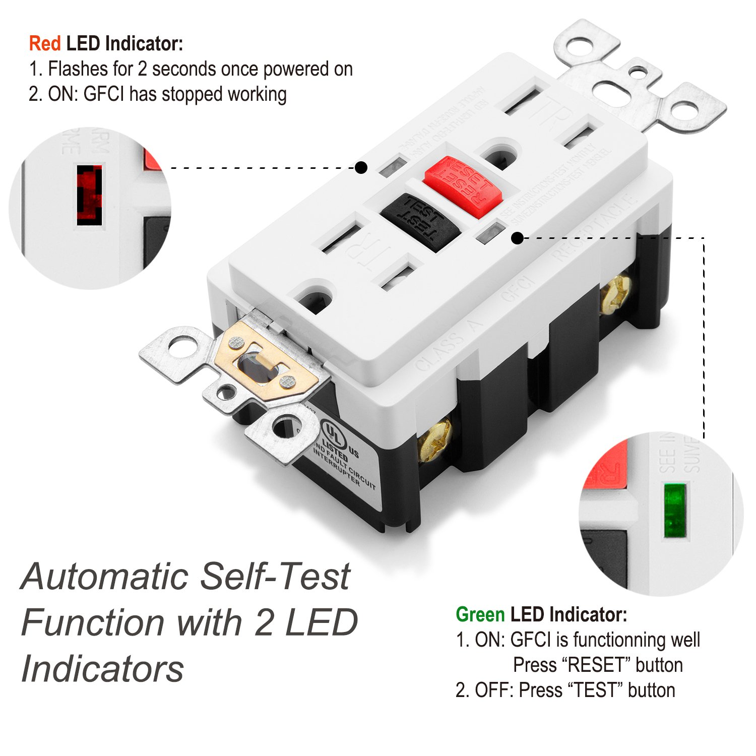 Bestten 15a Self Test Tamper Resistant Gfci Receptacle Outlet With 2 15 Amp Circuit Guard White Hd Led Indicators Ground Fault Interrupter 125v 1875w Wall Plates