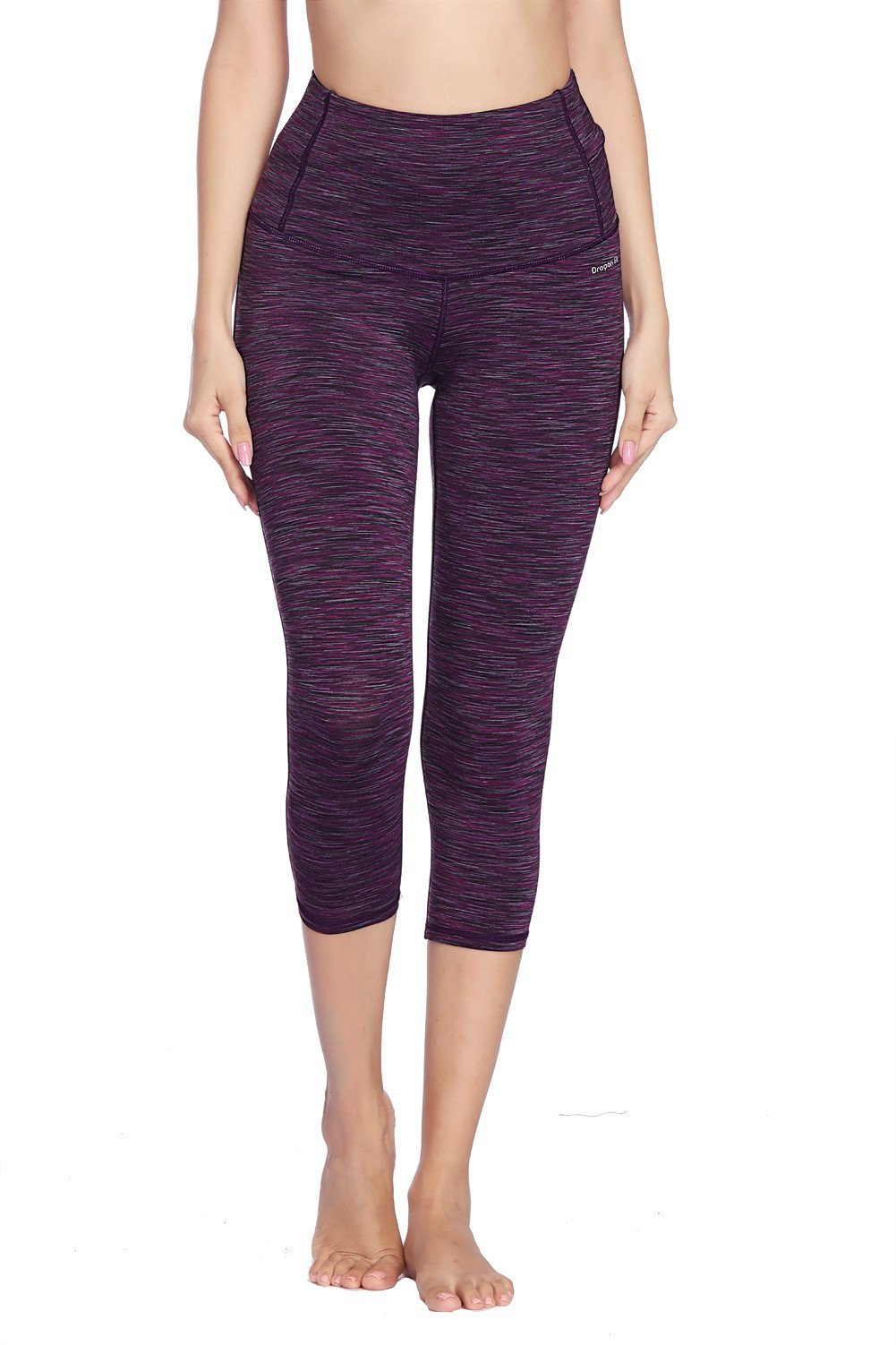 Dragon Fit Compression Yoga Pants Power Stretch Workout Leggings with High Waist Tummy Control (Large, Capri-Purple) by Dragon Fit (Image #2)