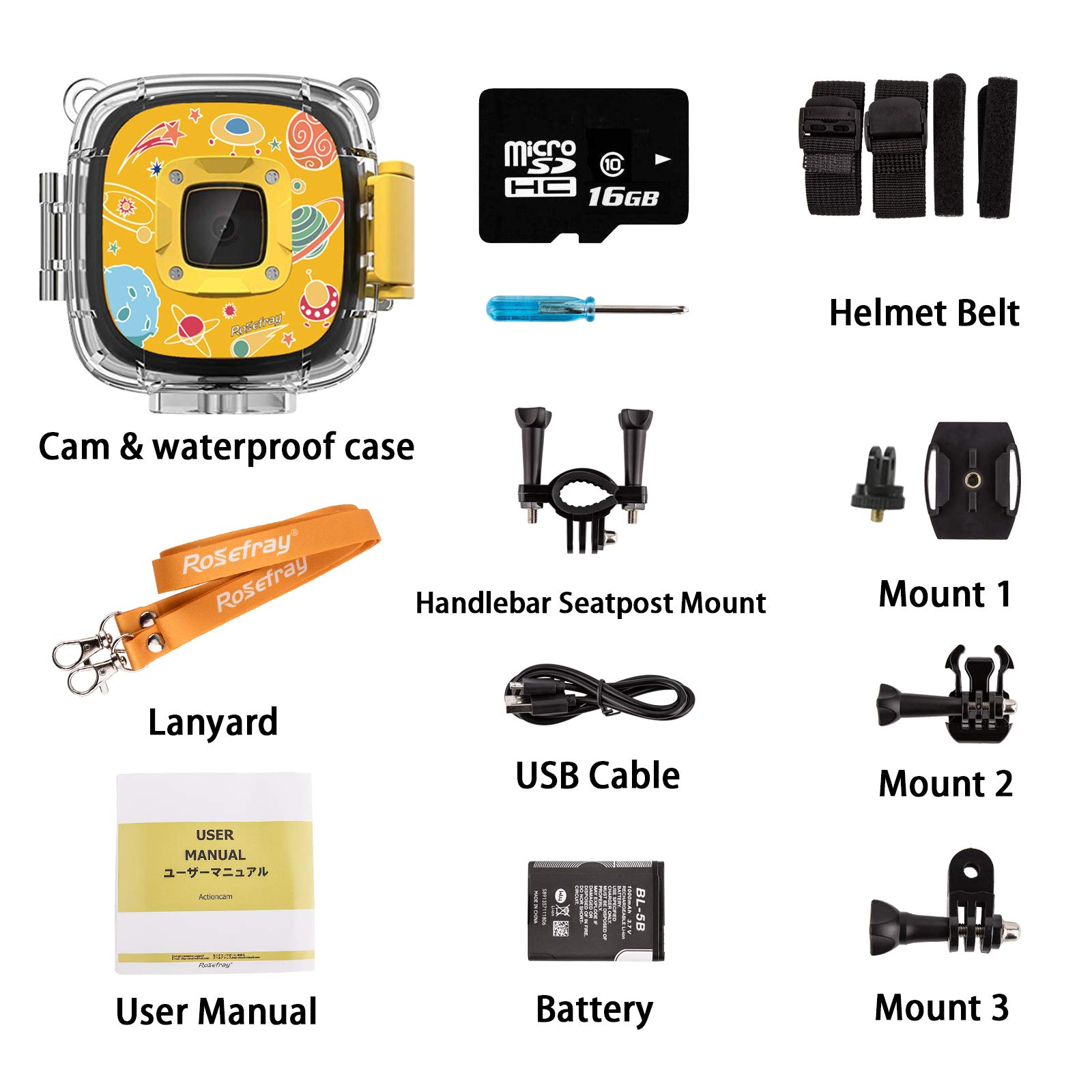 Rosefray Kids Camera,1080P HD Kids Action Camera, Sports Kids Digital Cameras for Boys and Girls, 16GB SD Card, Yellow by Rosefray (Image #7)