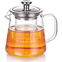 PluieSoleil Glass Teapot 350 ml Teapot for One with Heat Resistant Stainless Steel Infuser Perfect for Tea and Coffee