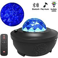 Ove LED colorido proyector Bluetooth USB control de voz reproductor de música lámpara de proyección, Negro 3w, Una talla, 1