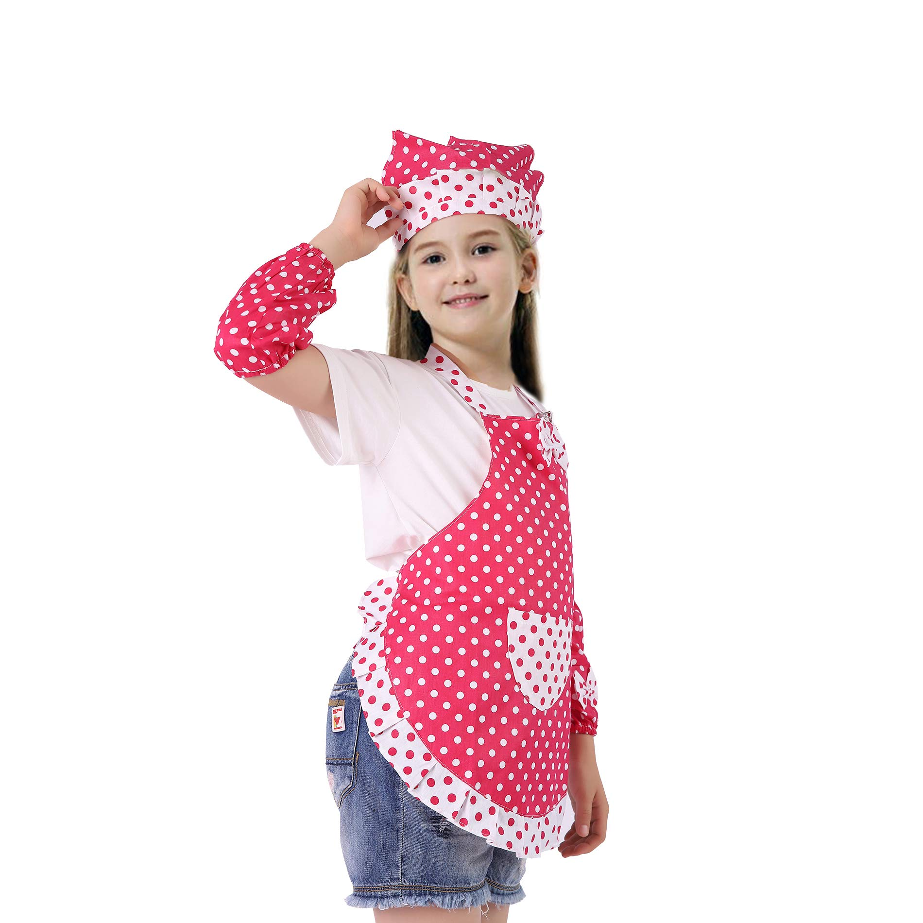 Kids Cooking and Baking Set - 3 Piece Kids\' Cooking Kits Includes Apron, Sleevelet, Headkerchief For 2 to 6 Year Old Girls or Boys (Red)