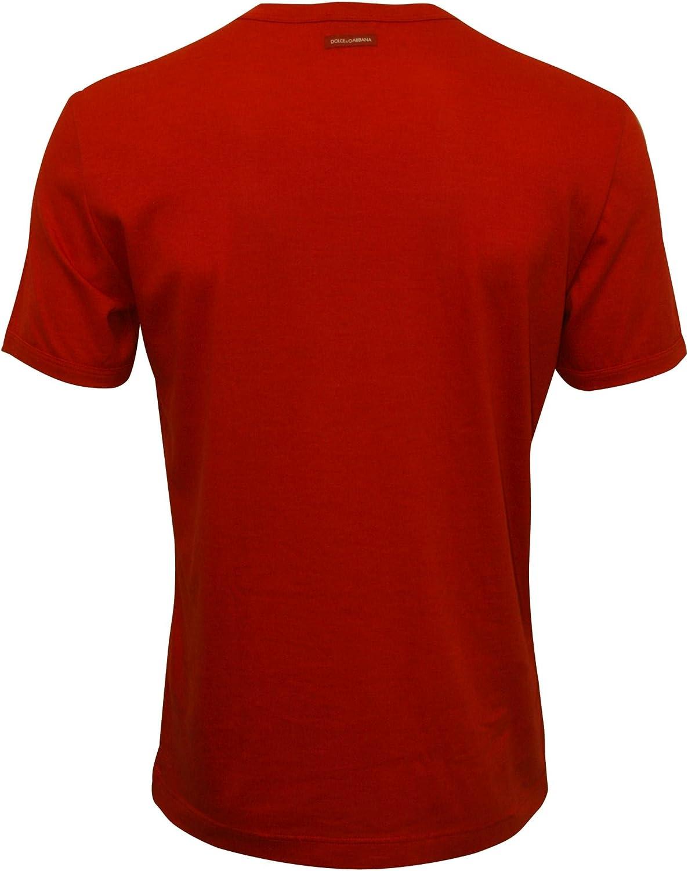 Dolce & Gabbana Hombres De Algodón Modales del Equipo-Cuello De La Marca De La Camiseta De Los Hombres, Rojo De China Grande: Amazon.es: Ropa y accesorios