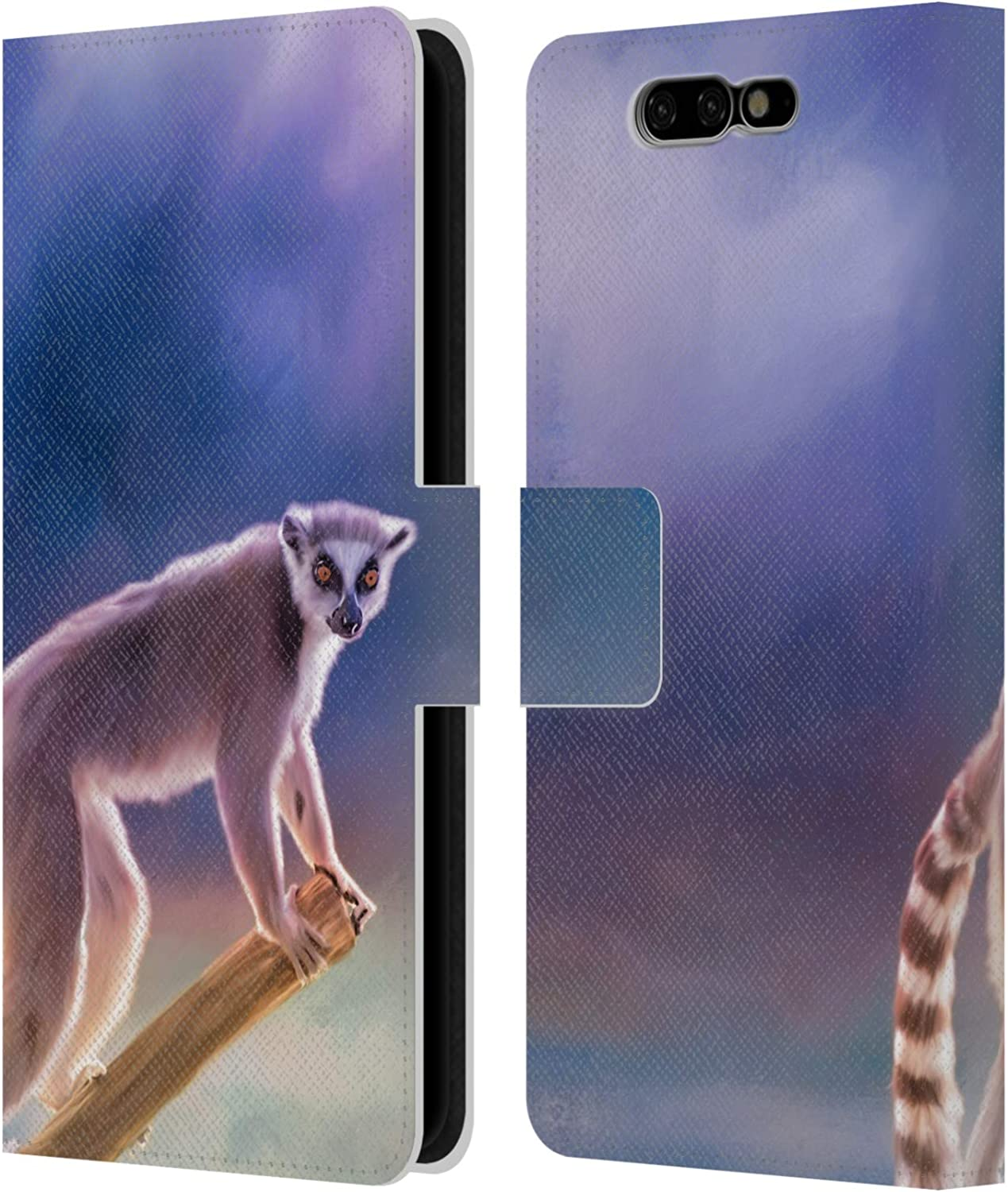 Head Case Designs Officially Licensed by Simone Gatterwe Ring-Tailed Lemur Assorted Designs Leather Book Wallet Case Cover Compatible with Xiaomi Black Shark