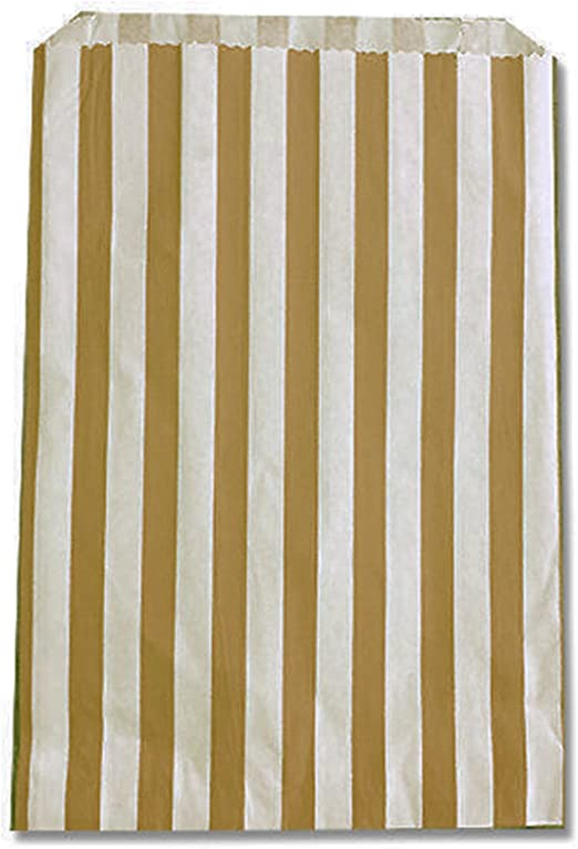 100x Gold Small Candy Stripe Paper Bags Sweet Favour Buffet Gift Shop Party Sweets Cake Wedding