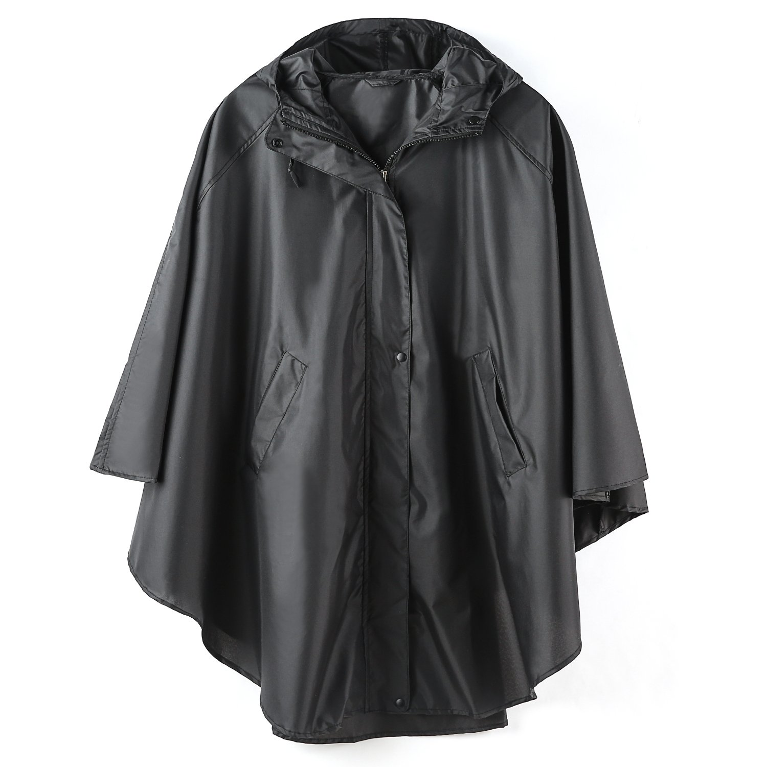 LINENLUX Rain Poncho Jacket Coat Hooded for Adults with Zipper (Black)