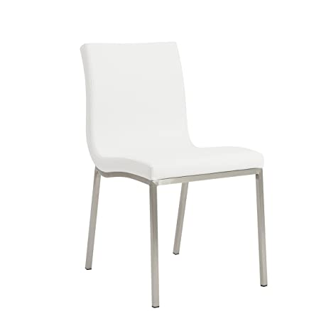 uk availability e958c 86e3c Euro Style Scott Side Dining Chair, Set of 2, White Leatherette with  Stainless Steel Legs