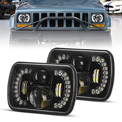 DOT Approved 2PCS 120W Cree Rectangle H6054 LED Headlights with Hi/Low Sealed Beam DRL for jeep Wrangler YJ Cherokee XJ Toyota Ford: Automotive