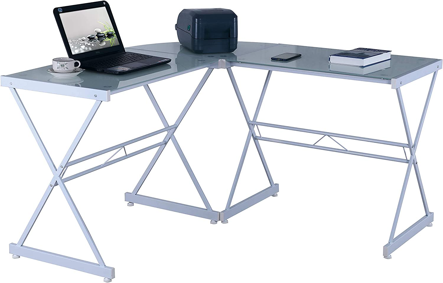 Techni Mobili L-Shaped Glass Computer Desk, White