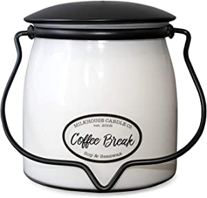 Milkhouse Candle Company, Creamery Scented Soy Candle: Butter Jar Candle, Coffee Break, 16-Ounce