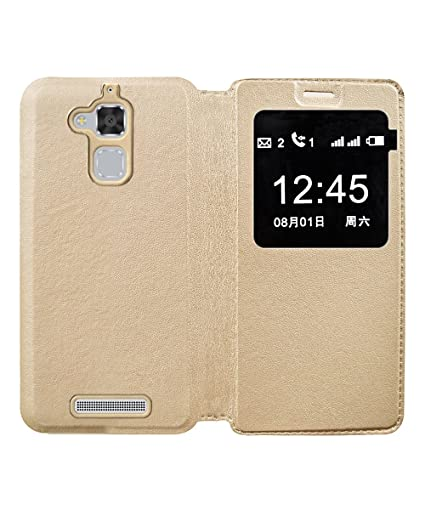 low priced d5014 6d7df COVERNEW Flip Cover for Samsung Asus Zenfone 3 Max ZC520TL (5.2 Inches) -  Golden