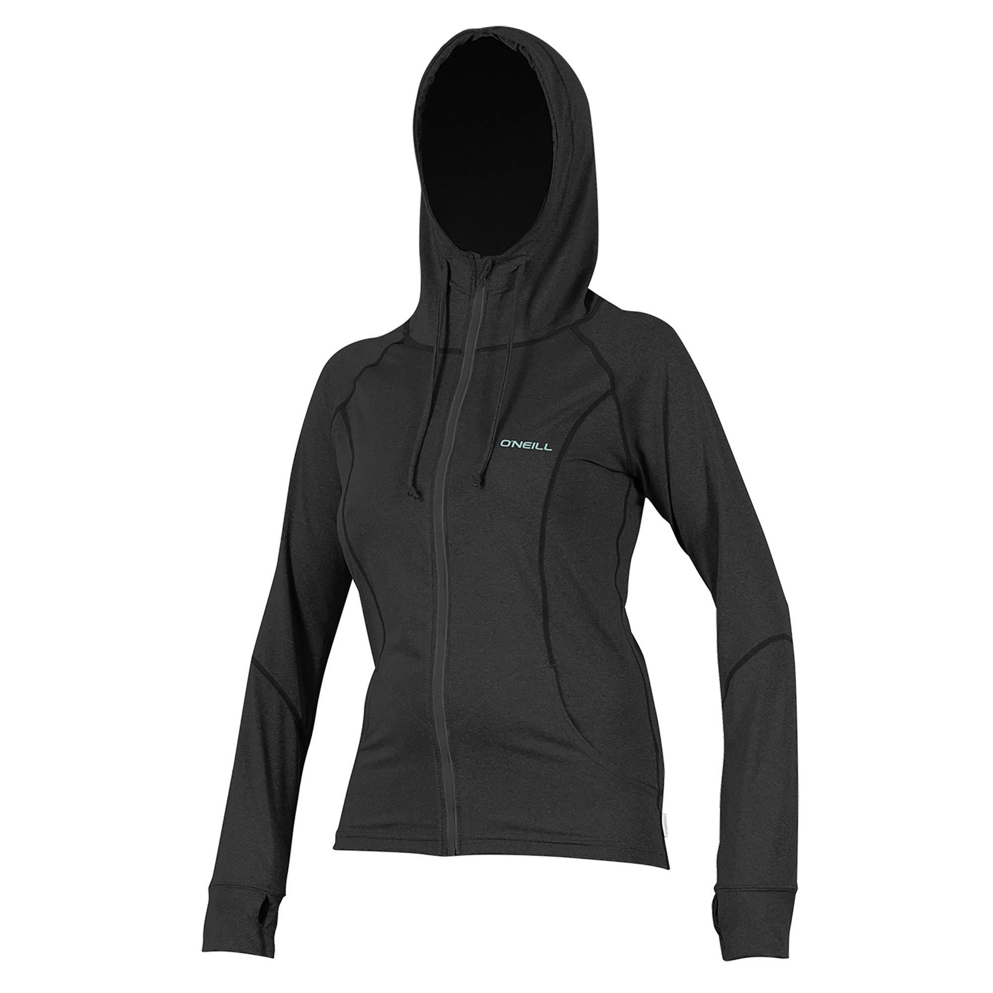 O'Neill Wetsuits Women's Hybrid UPF 50+ Long Sleeve Full Zip Sun Hoodie, Black, X-Small